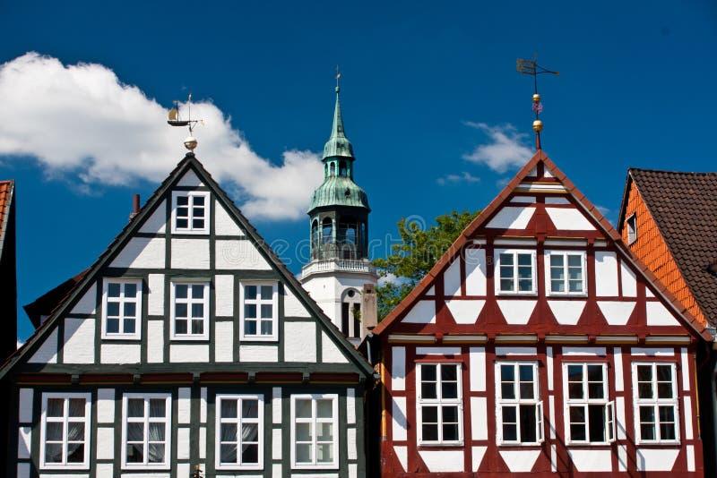 Maison traditionnelle de fram de bois de construction dans Celle, Allemagne photos libres de droits