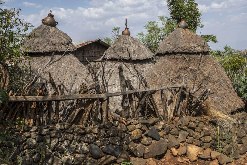 Maison traditionnelle de tribu de Konso, Ethiopie photo stock
