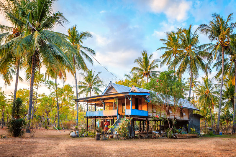 Maison traditionnelle en Gili Air images stock