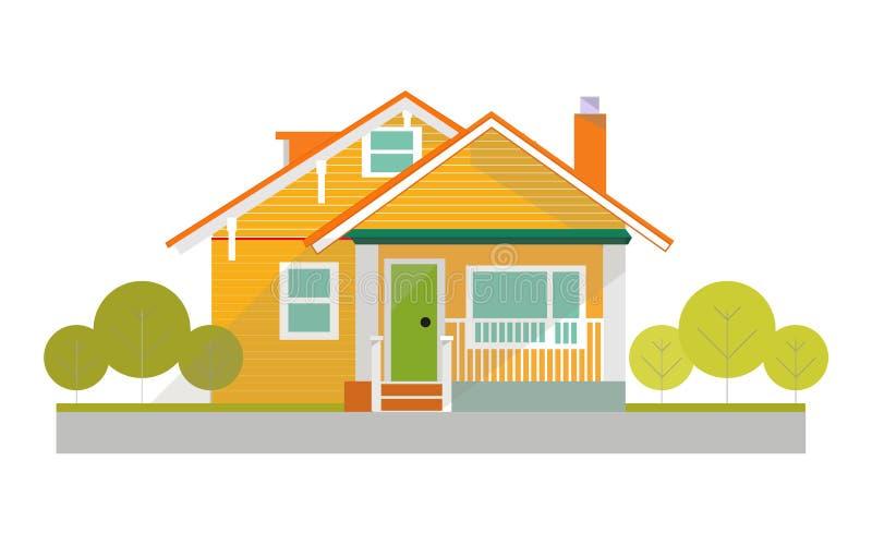 Maison traditionnelle et moderne Maison familiale Illustration plate de concept de vecteur de conception illustration de vecteur