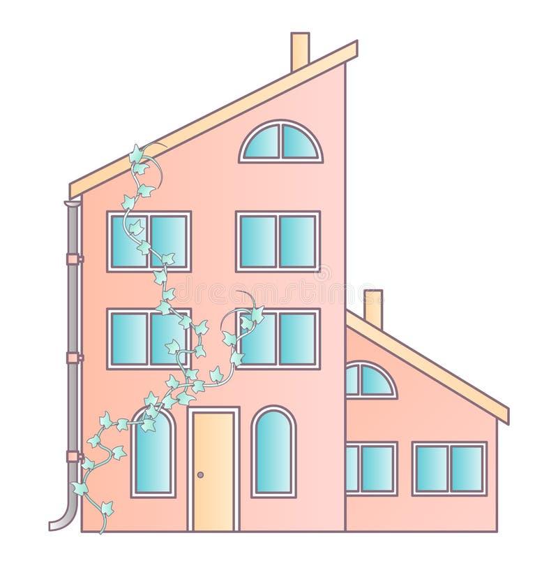 Maison traditionnelle et moderne Maison familiale Illustration plate de concept de vecteur de conception illustration stock