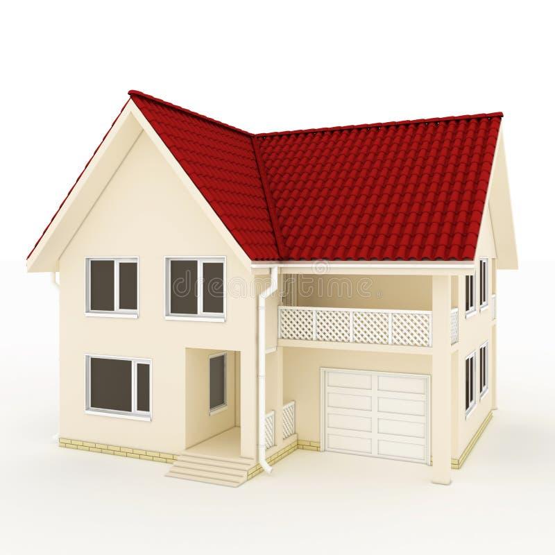 Maison Two-story avec le toit, le balcon et le garage rouges illustration de vecteur