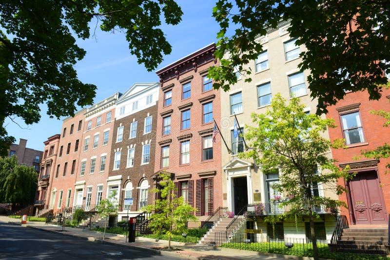Maison urbaine au parc de Lafayette, Albany, NY, Etats-Unis images libres de droits