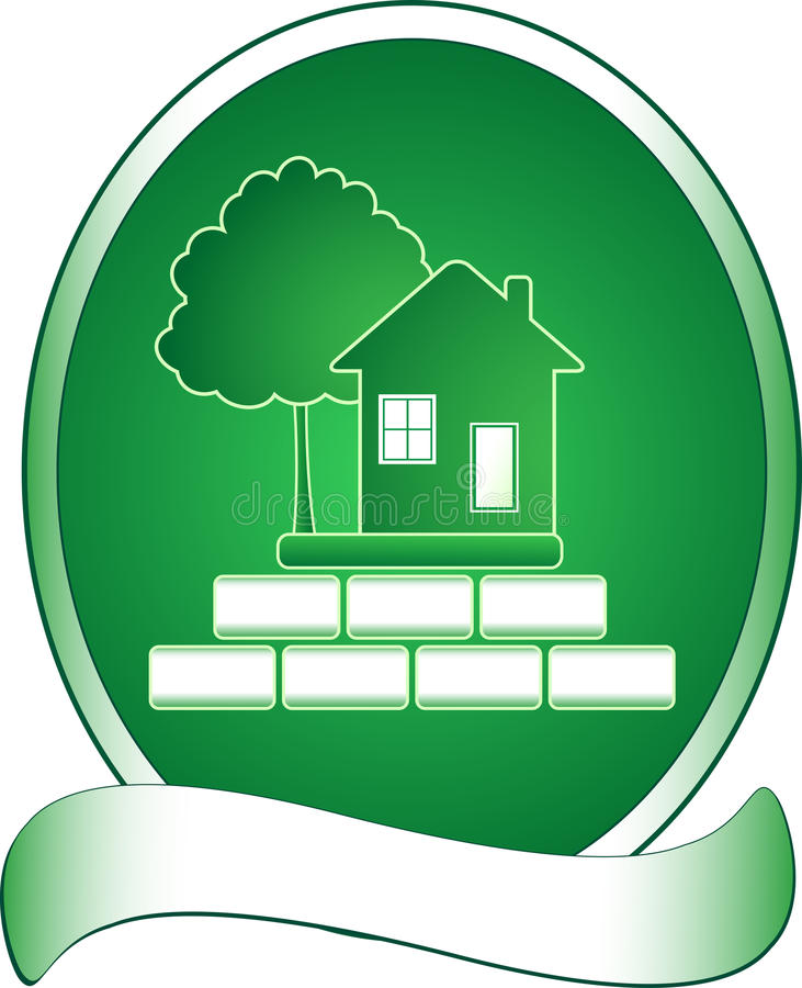 Maison verte, arbre et riches illustration stock