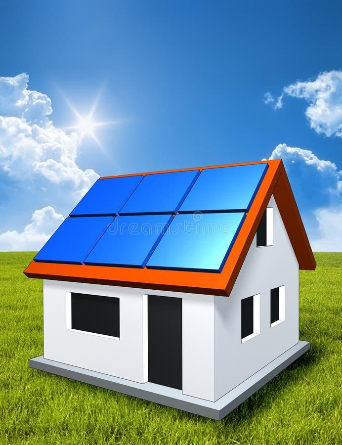 Maison verte au soleil avec les panneaux solaires illustration stock