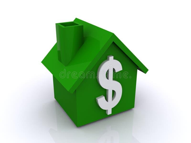 Maison verte avec le signe du dollar illustration de vecteur