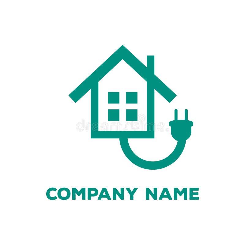 Maison verte de concept de l'électricité avec l'icône de société de vecteur de réparation de maison de prise illustration de vecteur