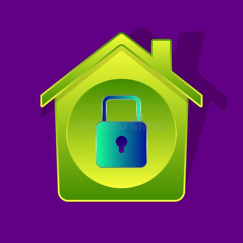Maison verte et cadenas illustration libre de droits
