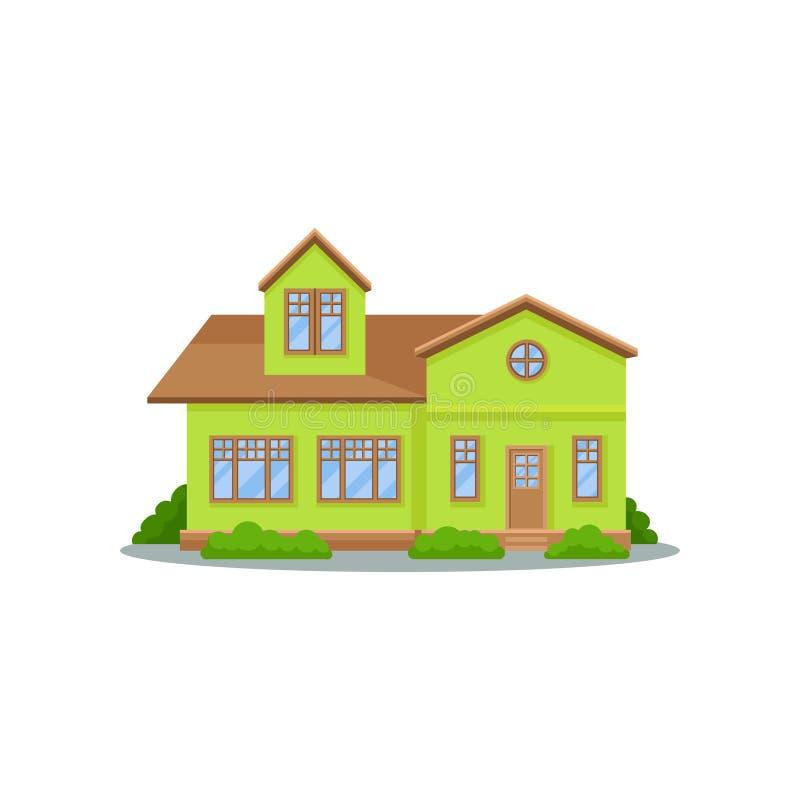 Maison verte moderne avec le toit brun, les grandes fenêtres en bois et la porte Belle maison familiale Cottage résidentiel à deu illustration de vecteur