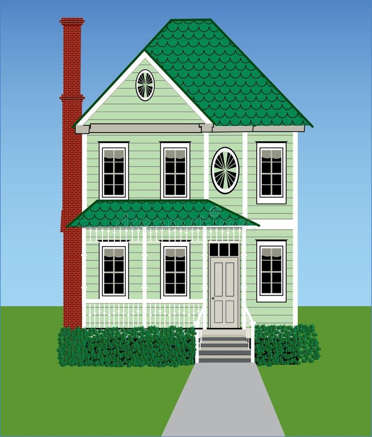 Maison victorienne verte grande illustration libre de droits