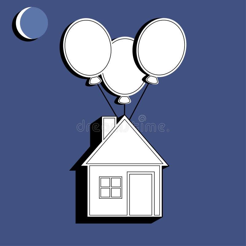 Maison vivante avec des ballons à air d'isolement sur le fond Cottage dans la ligne conception Concept 6 d'immeubles Illustration illustration stock