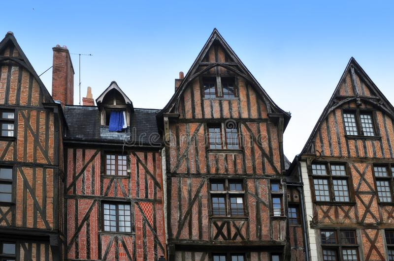 Maisons à colombage dans les visites, France photo stock