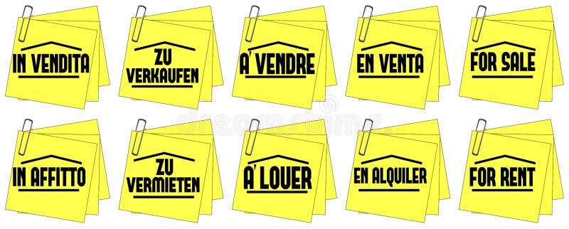 Maisons à vendre des maisons pour le loyer illustration libre de droits