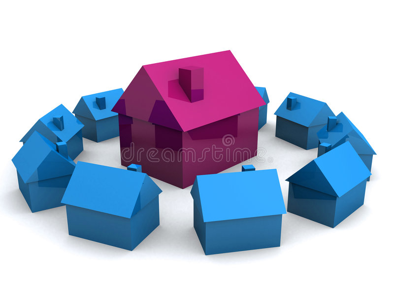 maisons 3d illustration stock