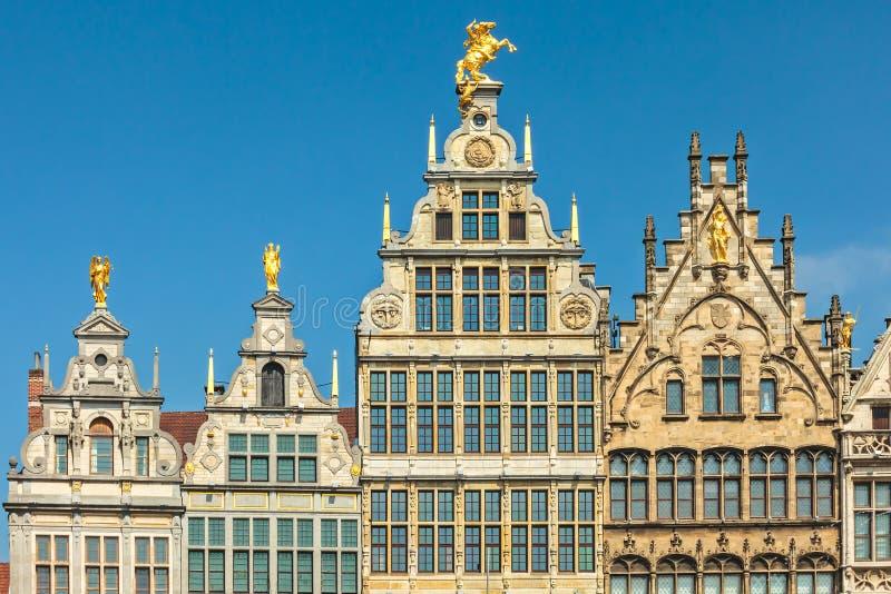 Maisons antiques de guilde au centre d'Anvers, Belgique photos libres de droits
