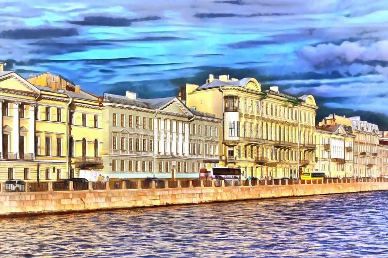 Maisons antiques sur le remblai de rivière de Fontanka dans Peterburg illustration stock