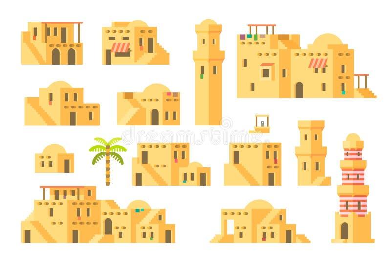 Maisons arabes de boue de conception plate illustration libre de droits