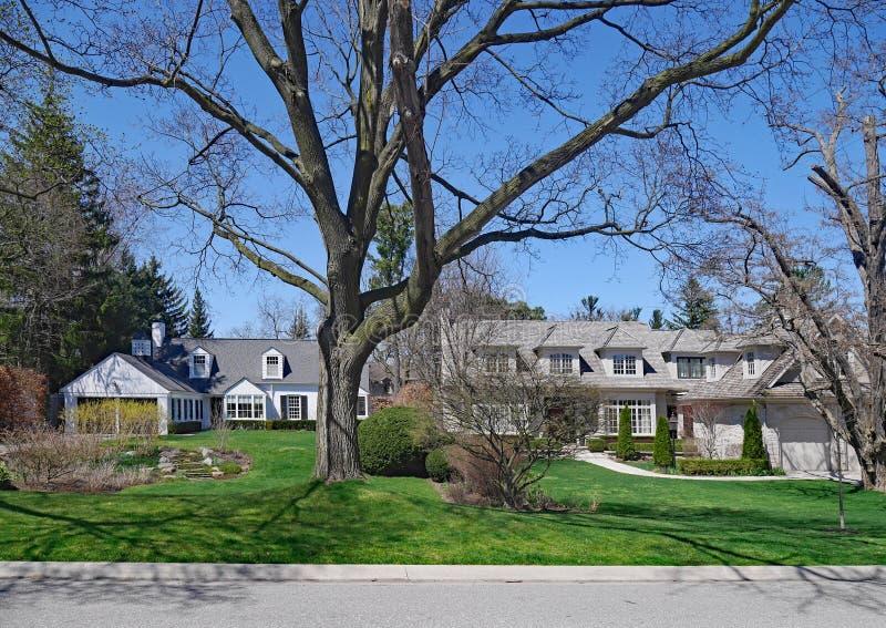 maisons avec de longues pelouses images libres de droits