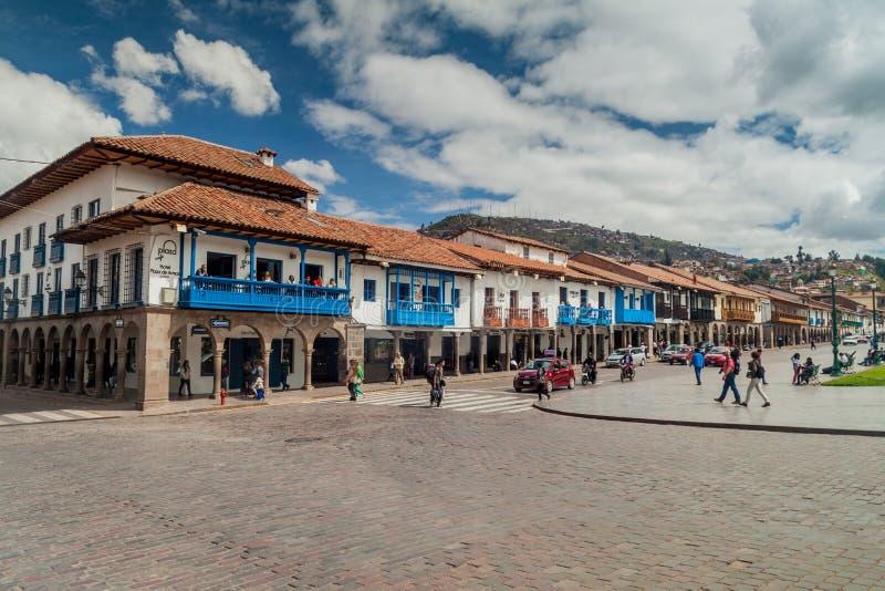 Maisons coloniales à la place de Plaza de Armas dans Cuzco photos libres de droits