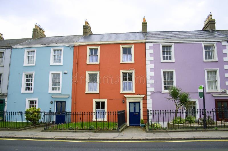 Maisons colorées à Dublin image libre de droits