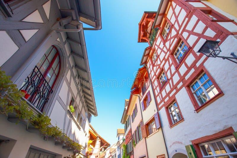 Maisons colorées au vieux centre de la ville du willage de Stein am Rhein photographie stock libre de droits