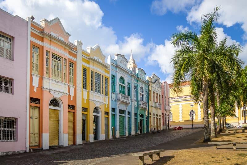 Maisons colorées d'Antenor Navarro Square au centre historique de Joao Pessoa - Joao Pessoa, Paraiba, Brésil images stock