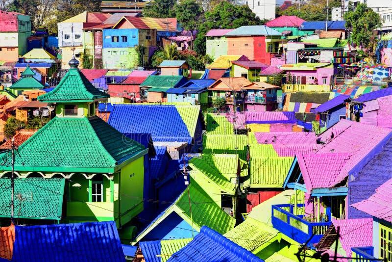 Maisons colorées de Malang photos libres de droits