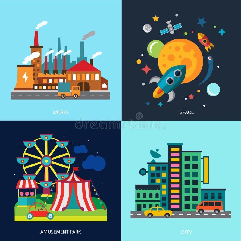 Maisons colorées divers par paysages urbains, parc d'attractions illustration libre de droits