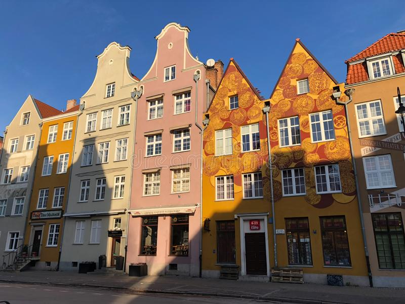 Maisons colorées médiévales de Danzig de vieille ville image libre de droits