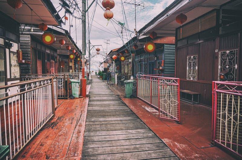 Maisons d'échasse d'héritage de la jetée de clan de mastication, George Town, Penang, Malaisie image libre de droits