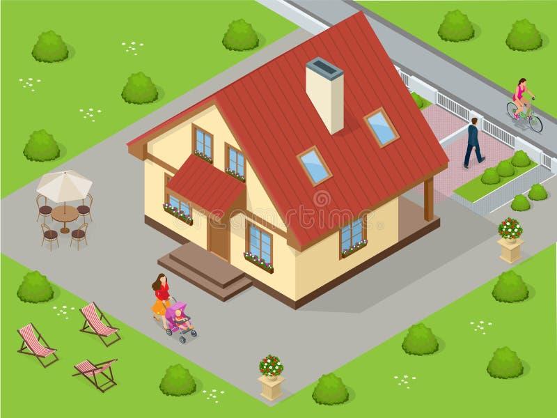 Maisons d'immeubles?, appartements à vendre ou pour le loyer Grande maison de luxe faite sur commande avec la cour bien équilibré illustration libre de droits