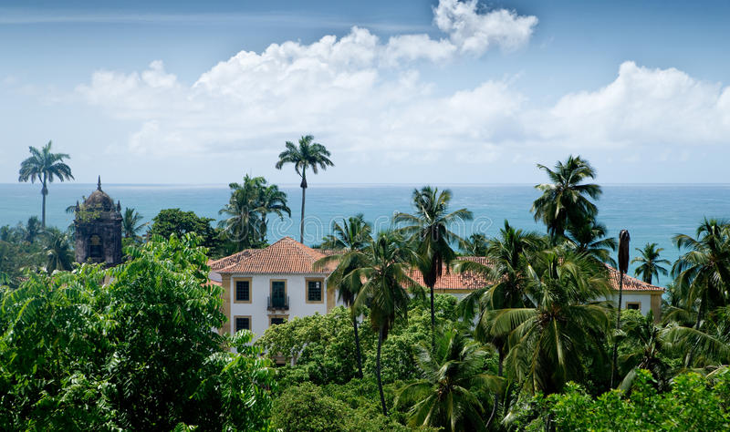 Maisons d'Oceanside dans Olinda, Recife, Brésil images libres de droits