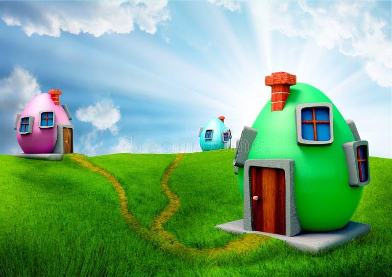 Maisons d'oeufs de pâques illustration libre de droits