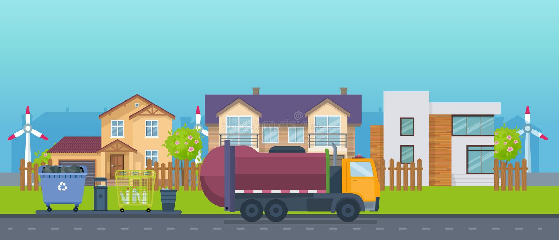 Maisons de campagne colorées, manoirs de vacances, cottages, maison d'hôtes, recyclage des déchets illustration libre de droits