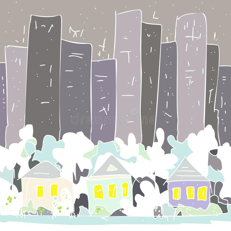 Maisons de campagne et arbres contre la jungle en pierre grise illustration libre de droits