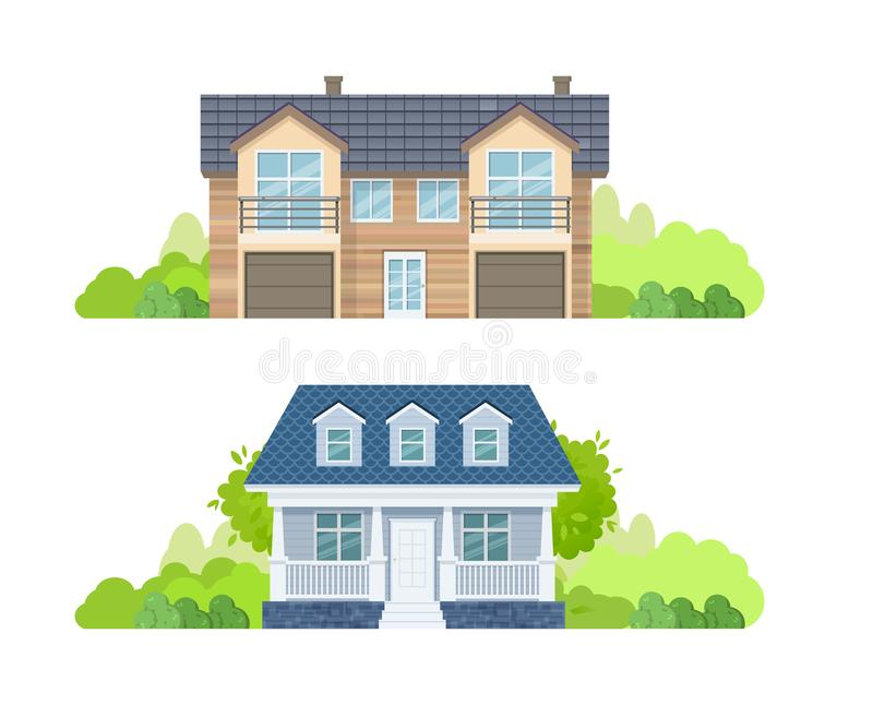 Maisons de campagne, manoirs de vacances, cottages, hôtels et maison d'hôtes colorés illustration libre de droits