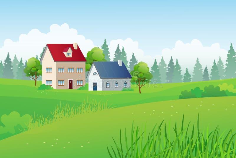 Maisons de campagne sur la colline verte avec le fond de forêt de pin illustration stock