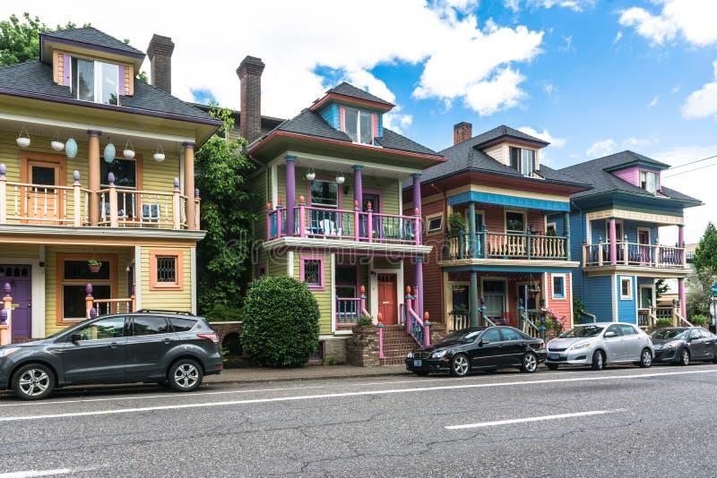 Maisons de Colorfull à Portland, Orégon photo libre de droits