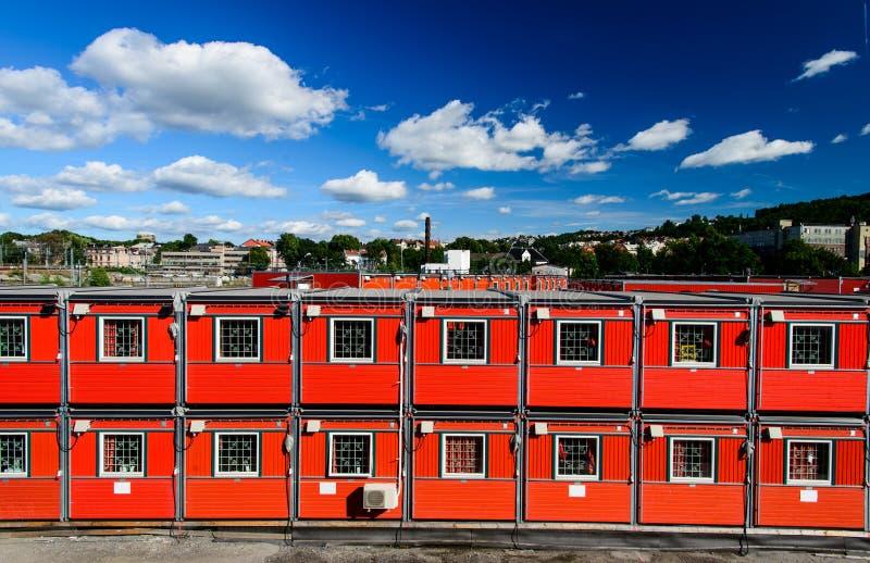 Maisons de conteneur photographie stock libre de droits
