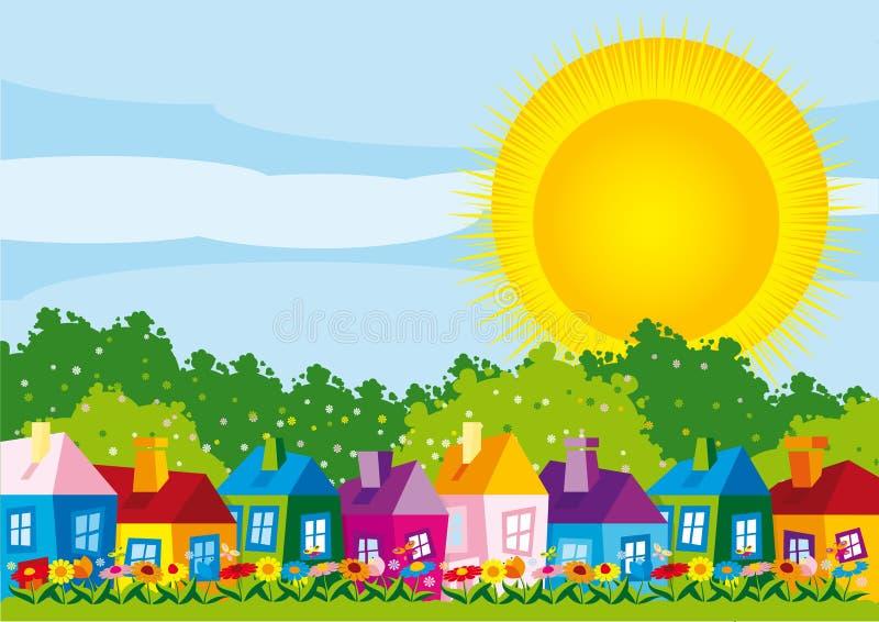 Maisons de couleur d'illustration de vecteur par jour au printemps illustration stock