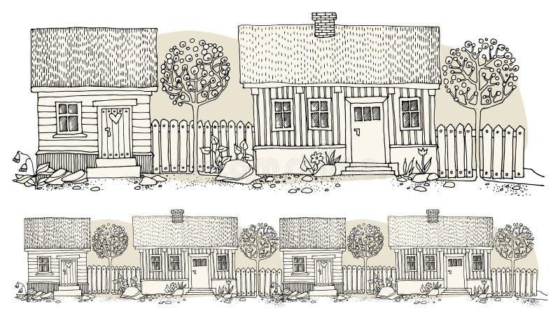 Maisons de dessin de main de bande dessinée illustration stock