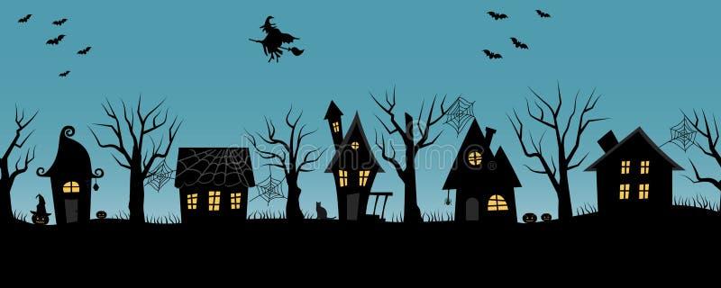 Maisons de Halloween Village fantasmagorique Cadre sans joint illustration stock
