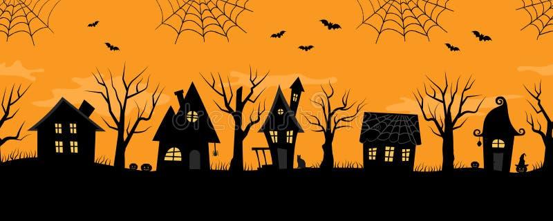 Maisons de Halloween Village fantasmagorique Cadre sans joint illustration libre de droits