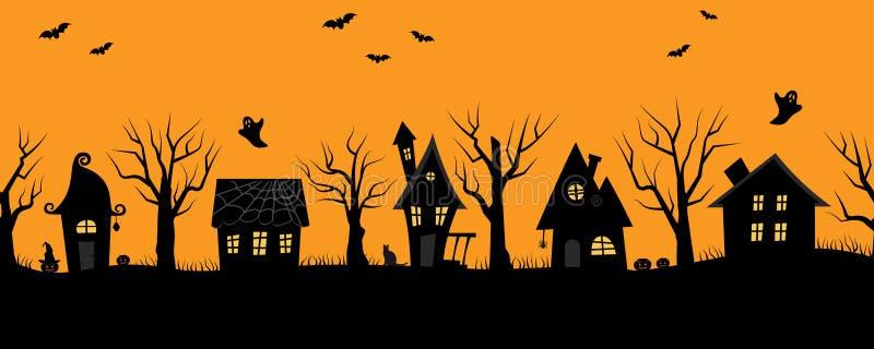 Maisons de Halloween Village rampant Cadre sans joint illustration libre de droits