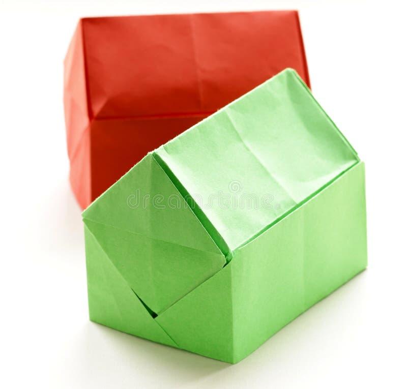 Maisons de papier d'origami coloré images stock