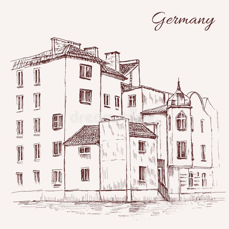 Maisons de tuile de croquis de vecteur de vintage vieilles, l'Europe, schéma peu précis, rétro style grunge voyage historique de  illustration libre de droits