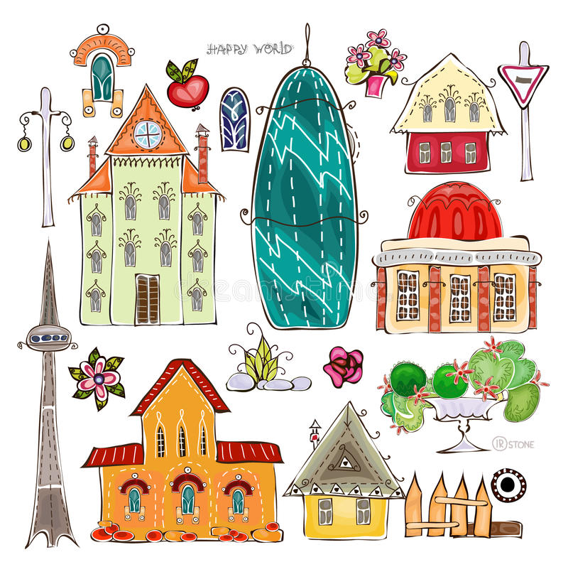 Maisons de ville et collection heureuse desing du monde d'ensemble d'élément de rue illustration de vecteur