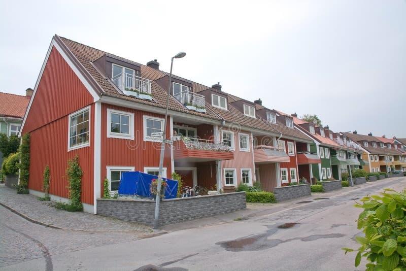 Maisons de ville résidentielles rouges image stock