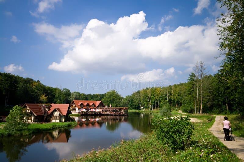 Maisons de vue de lac photographie stock libre de droits
