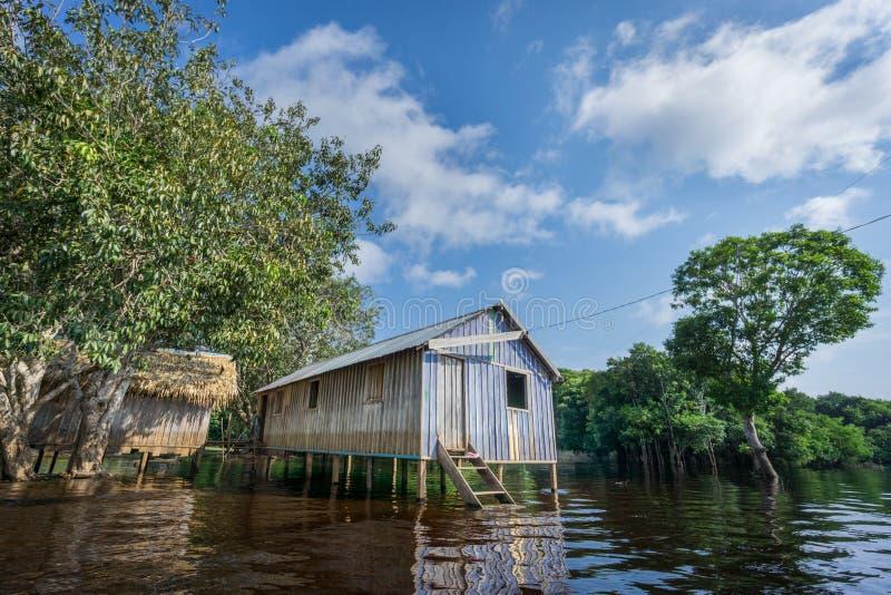 Maisons de Woode construites sur de hautes échasses au-dessus de l'eau, forêt tropicale d'Amazone photo libre de droits